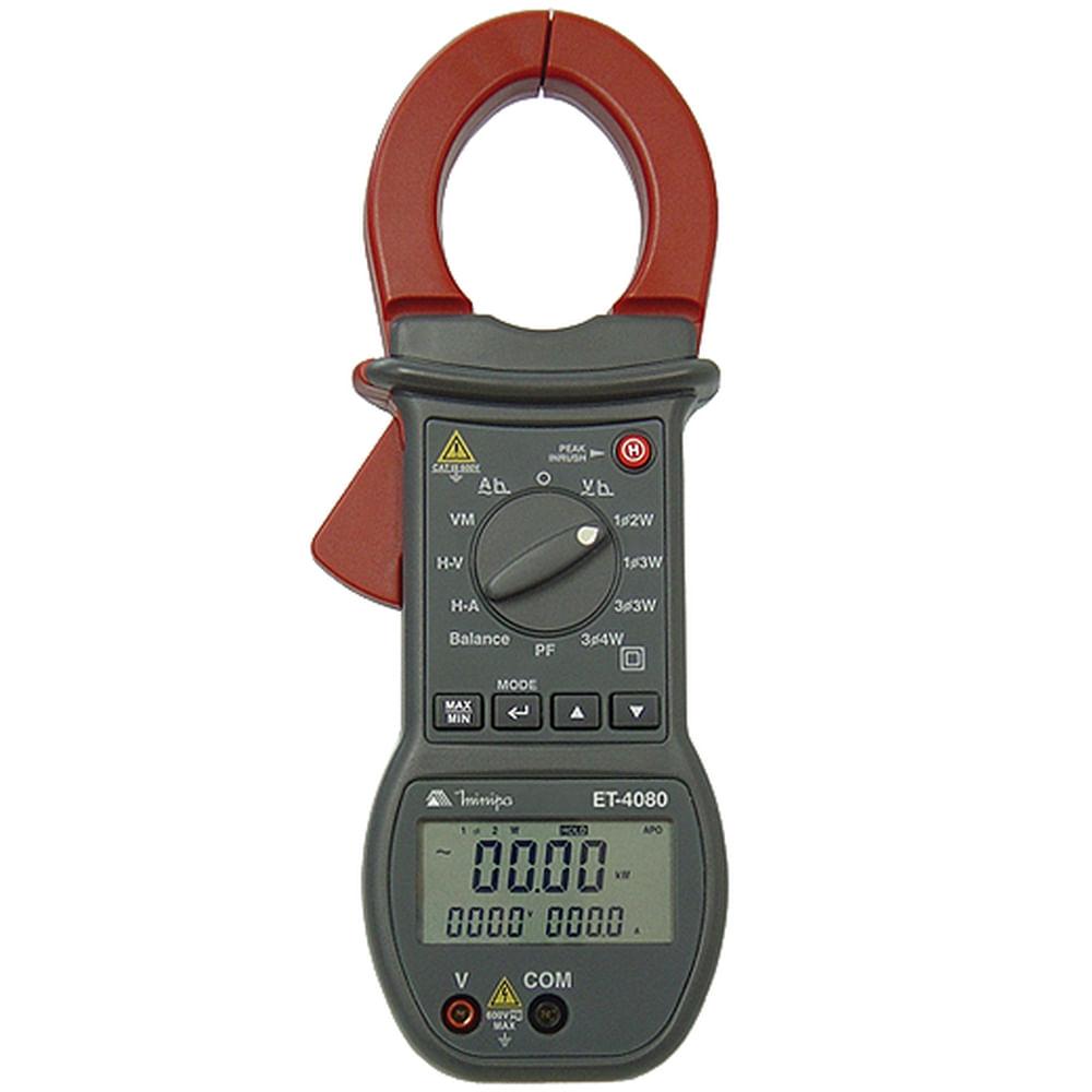 Alicate Wattímetro CAT III 4 Dígitos Trifásico Harmônicas In - Rush Minipa ET - 4080