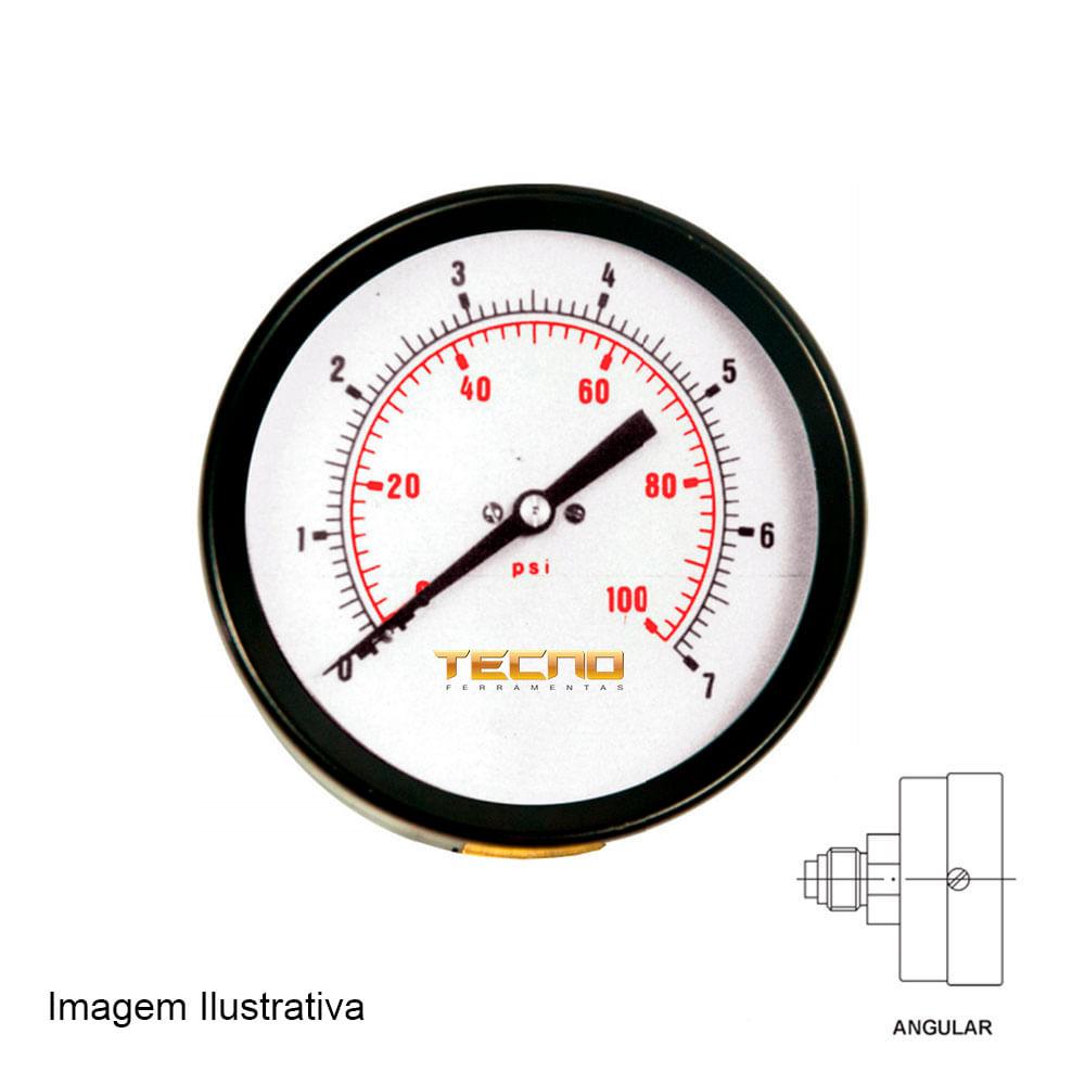 Manômetro Caixa Aço Carbono Interno de Latão Ø50mm Classe B Escala Dupla 0 a 160kg / cm² ( 2.300Psi ) Rosca 1 / 8NPT Angular Tecno TECN - 500.50A160
